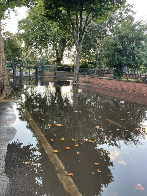 Road and pavement totally flooded. Impassable by foot - water 2 inches deep across road and footpath. Please unblock drains!-43 Whitta Road, Manor Park, E12 5DA