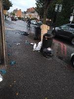 fly tipping and decorators waste dumped by public bin-150 Oxford Road, Reading, RG1 7PJ