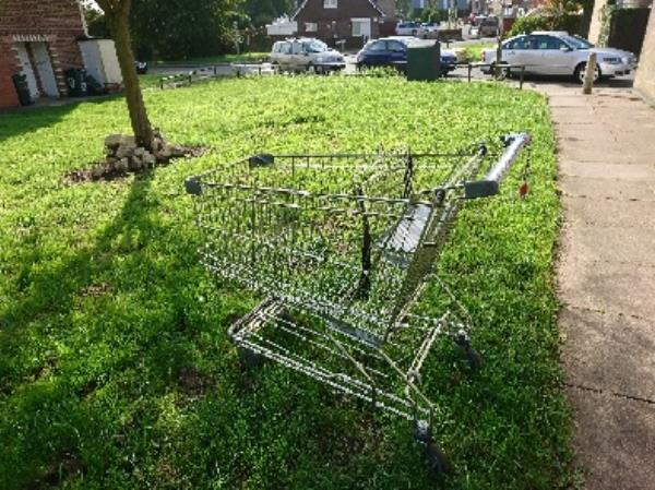 ( ALDI SHOPPING TROLLEY )  DUMPED ON OUTCLOSE OFF LIBERTY ROAD NEAR SCUDAMORE ROAD -241 Liberty Rd, Leicester LE3 6NP, UK