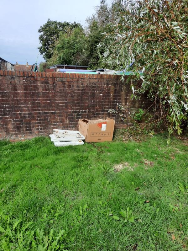 Please remove cardboard box and polystyrene from council owned land opposite 24 Oulten Close. Investigations Complete. Many thanks Jo-43 Oulton Close, Eastbourne, BN23 8DH
