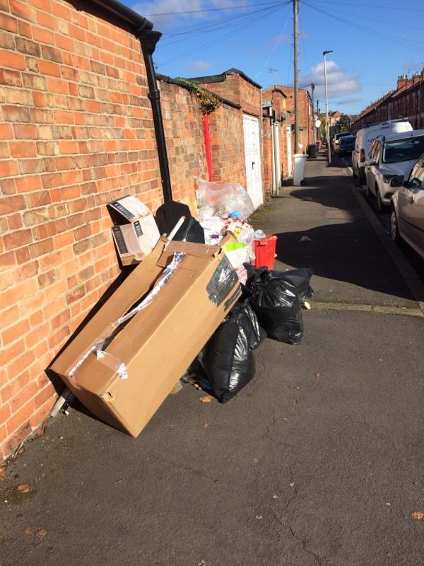 Fly tipping Livingstone Street  More has been added today Behind 68 Fosse Road South-70 Fosse Rd S, Leicester LE3 0QD, UK