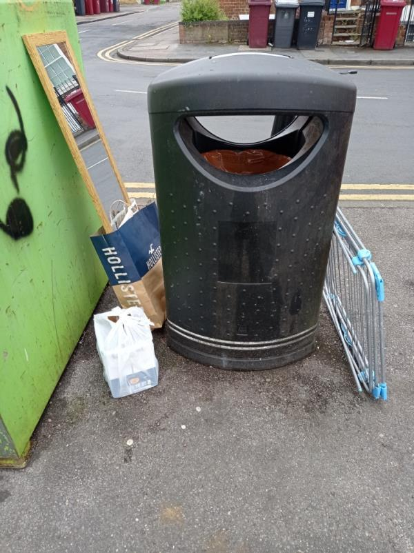 Junk around bins-3 Baker Street, Reading, RG1 7LJ