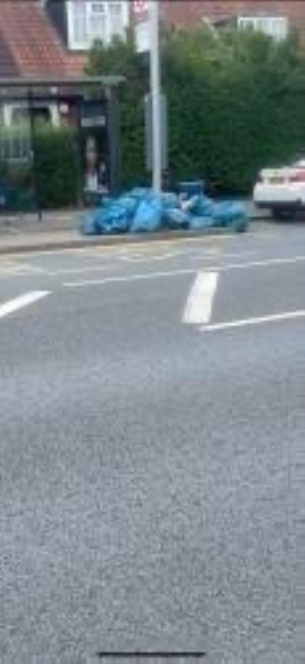 Please clear sweepers bags-120 Downham Way, Bromley, BR1 5NU