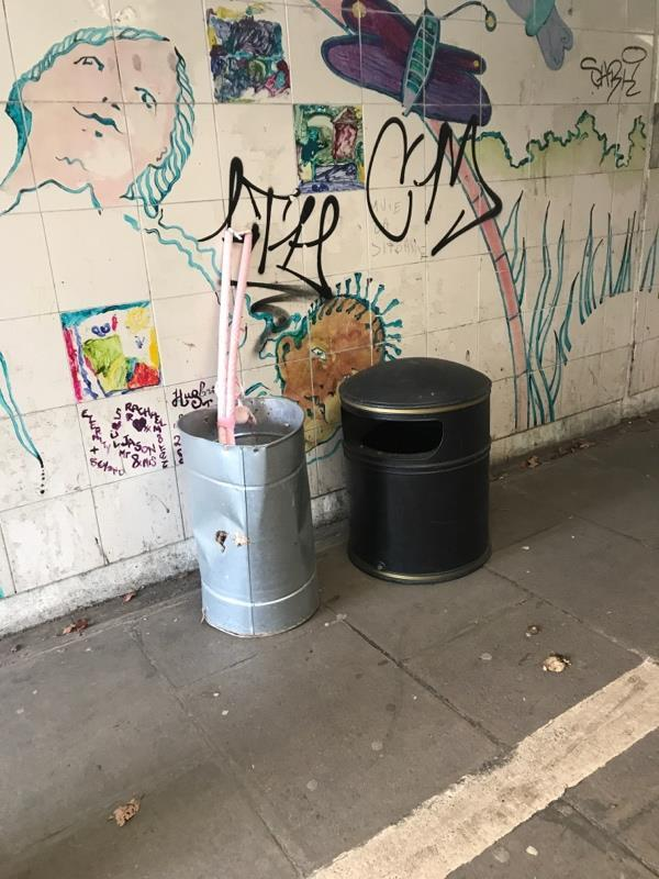 Rubbish bin is broken near Katesgrove lane by the subway that's under the IDR to county lock.  image 1-8 Centurion Cl, Reading RG1 2NJ, UK