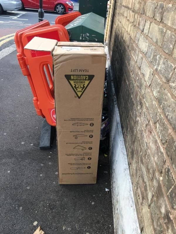 corner of First Ave (Romford Rd end) - hoover box, address label ripped. check romford road cctv pointing at this location.-688 Romford Road, Manor Park, E12 5AJ