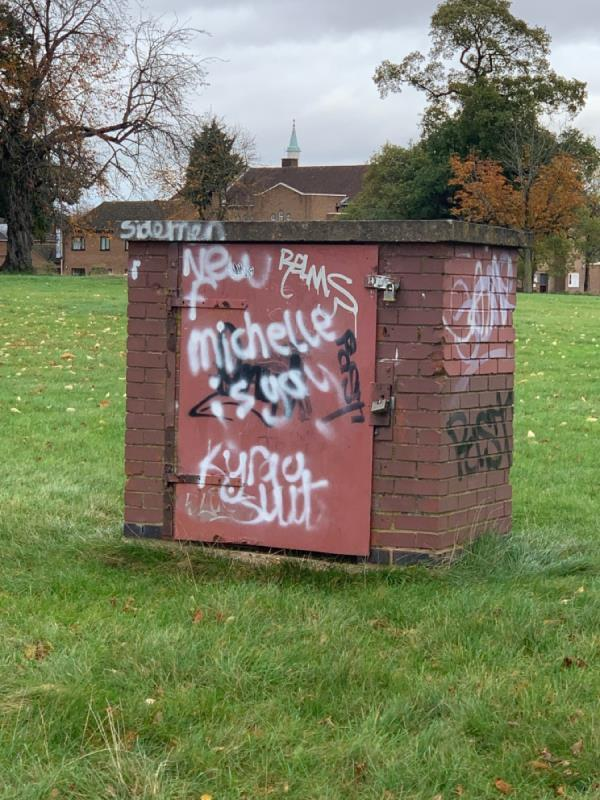 Graffiti on brick cupboard in Braunston park with colourful wording. -179 Gooding Avenue, Leicester, LE3 1JS