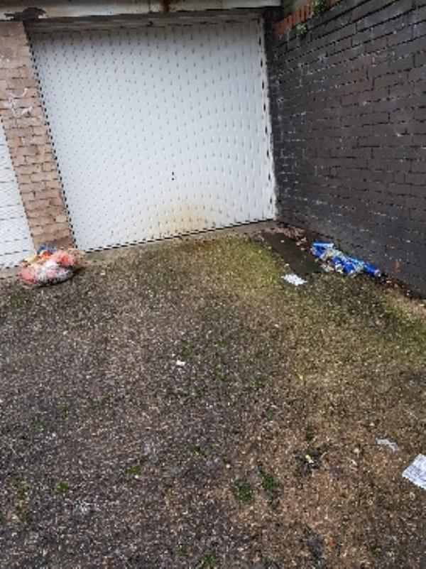this was reported on 1.12.20,job code 2113654,beer and rubbish left by street drinkers,not only do they leave their beer cans at garage but throw over wall into my garden,I'm fed up of picking  them up,could you please do something as you can see from garage door they use it as a toilet,disgusting -10 Frewin Street, Leicester, LE5 0PA