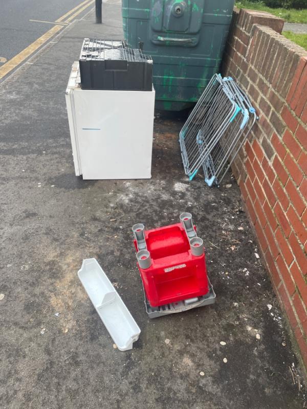 Rubbish dumped! Massive fridge! Please remove -22 Wordsworth Ave, Manor Park, London E12 6SU, UK