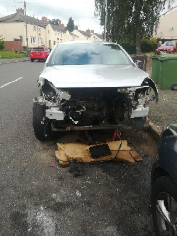 Prev. Reported Dangerous damaged silver astra Vauxhall car reg. has since been removed but 2 front tyres missing and are under the car parked on road car adj. To no. 42 Oldfallings crescent -50 Old Fallings Crescent, Wolverhampton, WV10 9PS