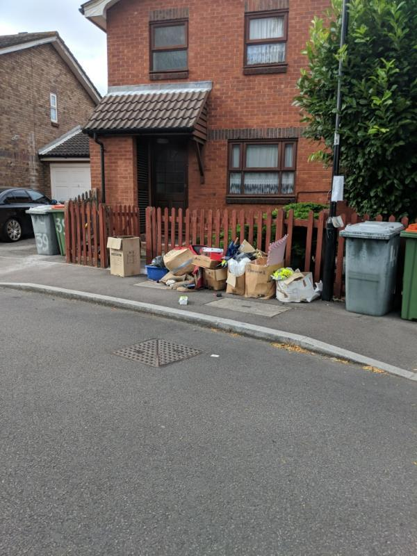 cardboard and plastic deposited on the public highway -45 Fulmer Road, Canning Town, E16 3TE