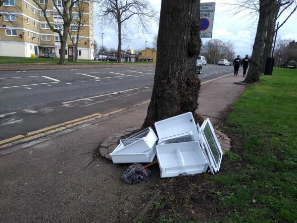 Four fridge drawers and shelves.  Plus a mop!  I have taken them out of the bushes and propped them up by a tree on the corner of Eastern and BGRd.-1 Eastern Road, Alexandra Palace, N22 7DD