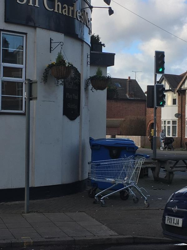 Shopping trolley abandoned outside Napier pub-44 Glenfield Road, Leicester, LE3 6AQ