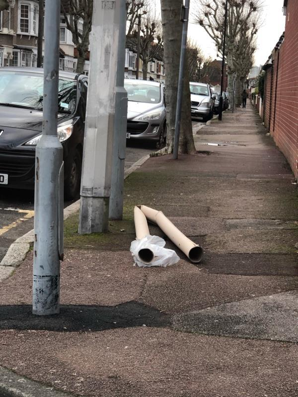 Carpet roll has been fly tipped-85 Essex Road, London, E12 6QR
