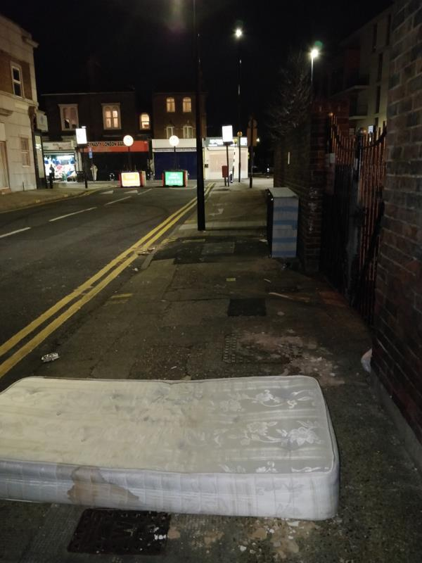 Dumped mattress and bed base on the pavement across the road from 2 Henniker Road off Leytonstone Road E15-4 Henniker Road, London, E15 1JZ