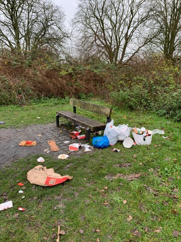 More litter dumped around the bench in the woodland by Tesco -137 Luscinia View Napier Road, Reading, RG1 8AF
