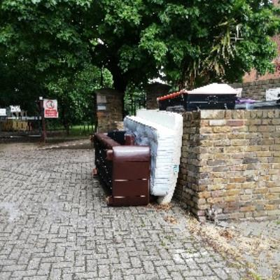 flytipping at St Mary of Eton Church-95 Eastway, Hackney Wick, London E9 5HQ, UK