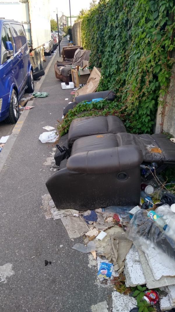 severe flytipping along entire road-K6 Bridge Rd, Southall UB2 4AB, UK